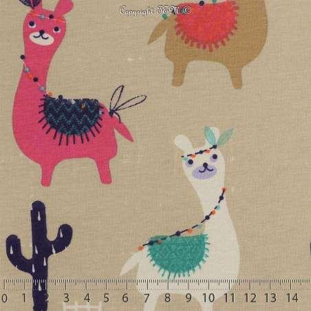 Jersey Coton Imprimé Modèle GUANACO Multicolore Fond Beige. 15 x 15 Cm Photo.