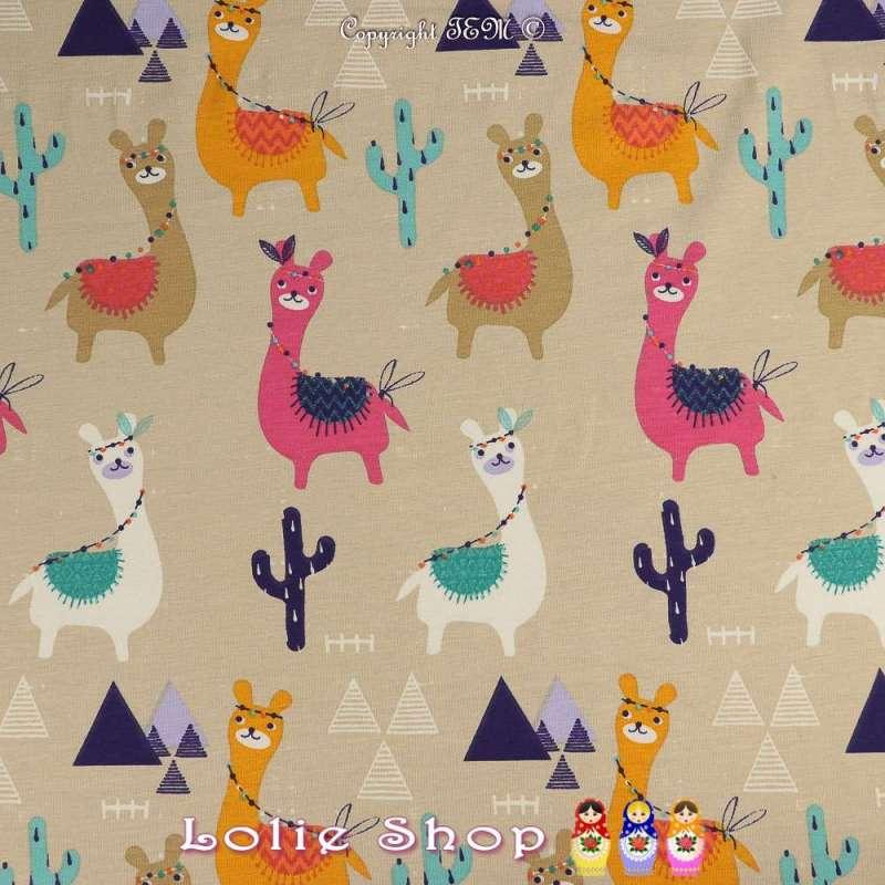 Jersey Coton Imprimé Modèle GUANACO Multicolore Fond Beige