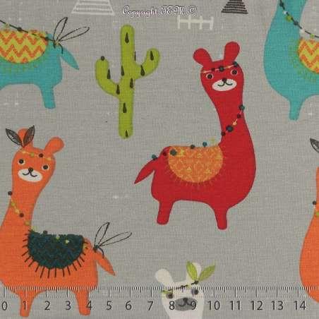 Jersey Coton Imprimé Modèle GUANACO Fond Gris. 15 x 15 Cm Photo.