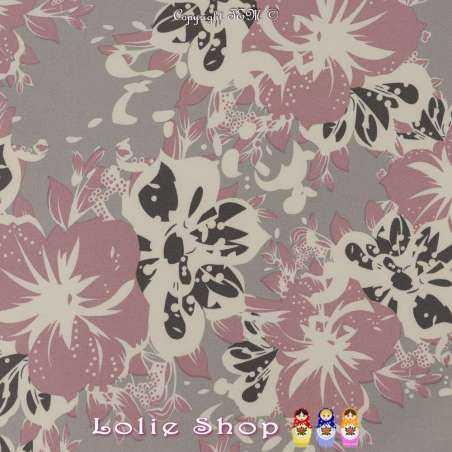 Double Crêpe Lourd Sergé Imprimé Hibiscus Rose Balais Sur Fond Gris