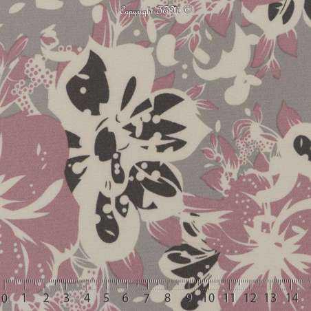 Double Crêpe Lourd Sergé Imprimé Hibiscus Rose Balais Sur Fond Gris. 15 x 15 Cm Photo.