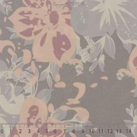Double Crêpe Lourd Sergé Imprimé Hibiscus Rose Clair Sur Fond Gris. 15 x 15 Cm Photo.
