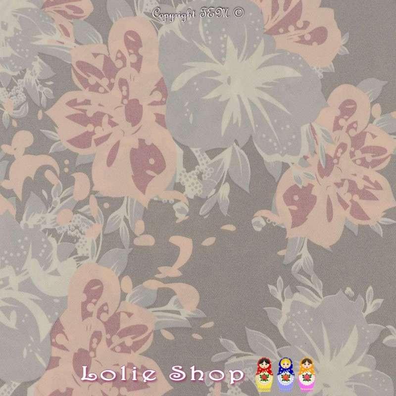 Double Crêpe Lourd Sergé Imprimé Hibiscus Rose Clair Sur Fond Gris