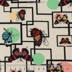 Double Crêpe Lourd Sergé Imprimé Papillons & Géométrie Fond Blanc. 15 x 15 Cm Photo.
