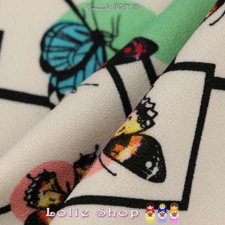 Double Crêpe Lourd Sergé Imprimé Papillons & Géométrie Fond Blanc