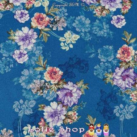 Double Crêpe Lourd Sergé Imprimé Fleuris Fond Bleu