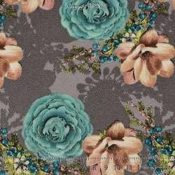 Double Crêpe Lourd Sergé Imprimé Magnolia & Rose Fond Gris / Pinchard. 15 x 15 Cm Photo
