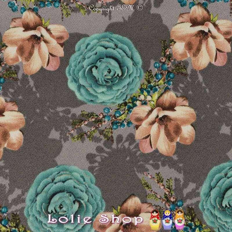 Double Crêpe Lourd Sergé Imprimé Magnolia & Rose Fond Gris / Pinchard