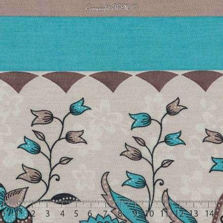 Tissu Viscose Imprimé Motif Fleurs À Base Vertical Ton Turquoise. 15 x 15 Photo