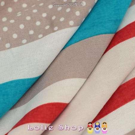 Tissu Viscose Imprimé Motif Fleurs À Base Vertical Ton Turquoise