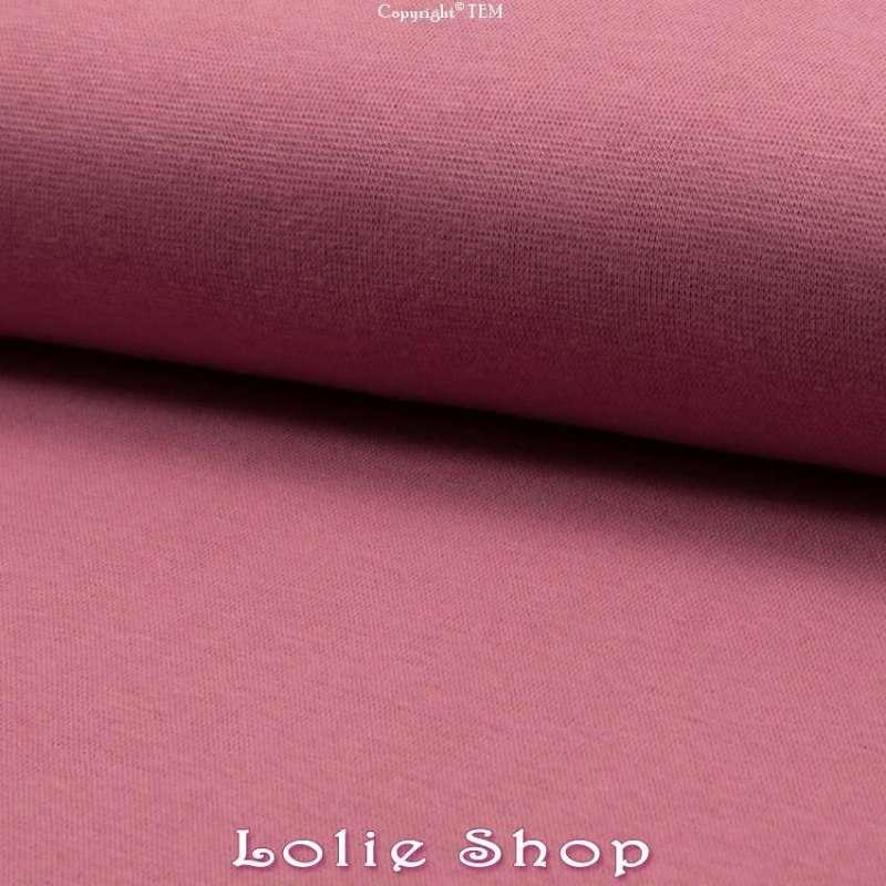 Jersey Bord Côte Tubulaire Vieux Rose