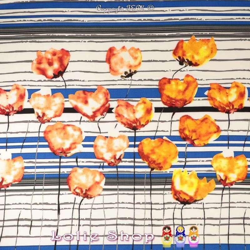 Double Crêpe Lourd Sergé Imprimé À Base Tulipes Ton Orange Sur Fond Quadrillé