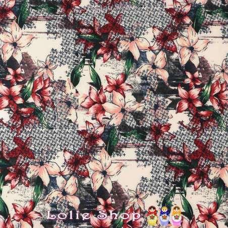 Double Crêpe Lourd Sergé Imprimé Fleurs de Lys Sur Fond Abstrait
