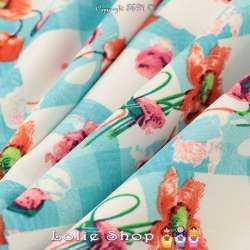 Double Crêpe Lourd Sergé Imprimé Coquelicot à Carreaux Turquoise