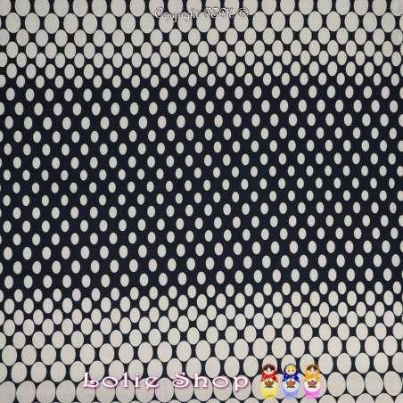 Tissu Voile De Coton Imprimé à Bases Motif Gros Pois Blanc