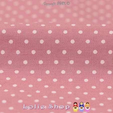 Coton Imprimé Petit Pois (1mm) Fond Rose Romance