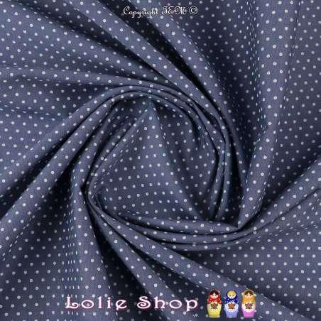 Coton Imprimé Petit Pois (1mm) Fond Bleu Bardeau