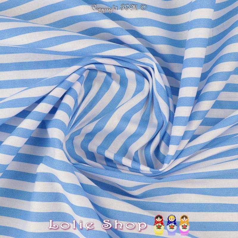 Coton Imprimé Marinière Rayures Bleu Ciel et Blanches