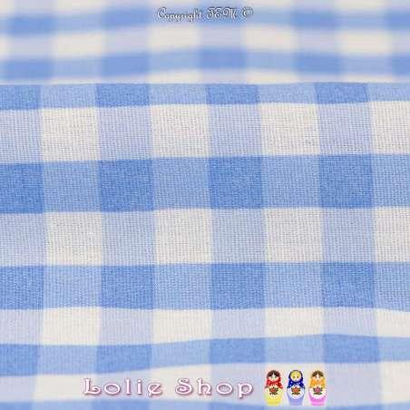 Coton Imprimé Vichy Couleur Bleu Ciel