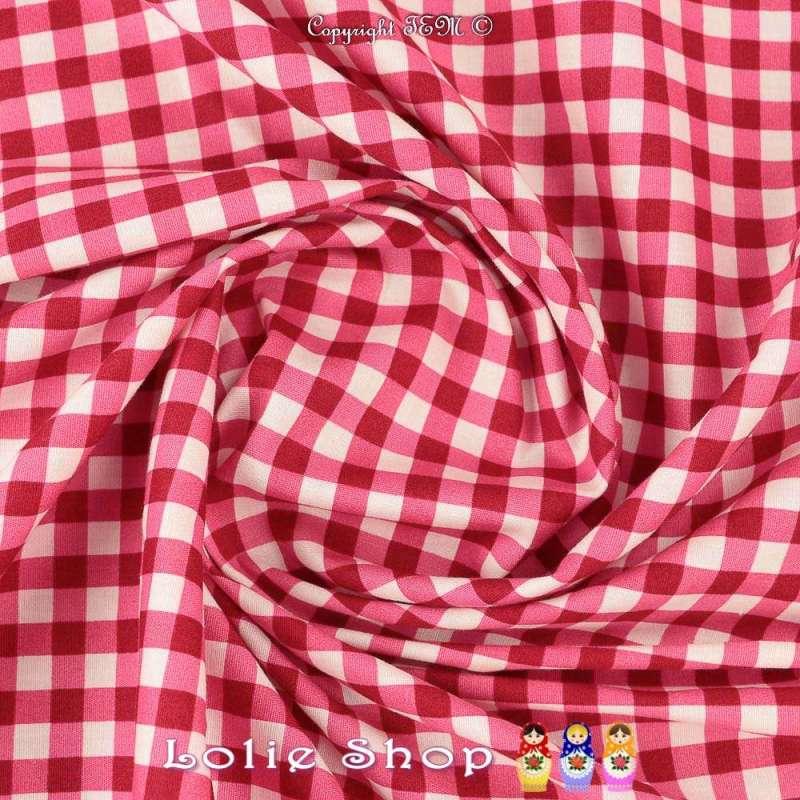 Coton Imprimé Vichy Couleur Cerise