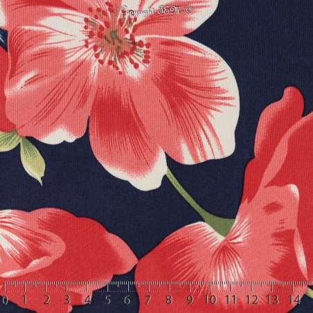 Jersey Cristal BAGATELLE Imprimé Thème Grande Hibiscus Ton Rouge Fond Marine. 15 x 15 Cm Photo.
