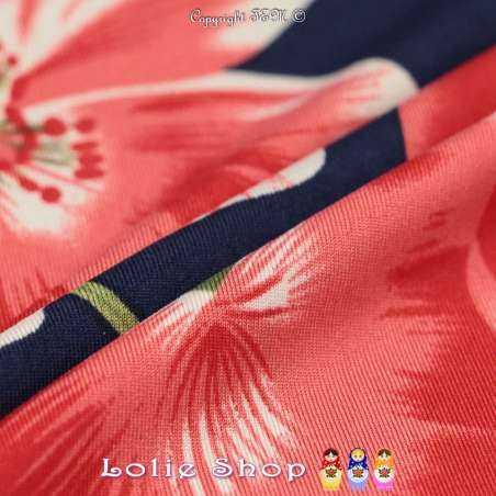 Jersey Cristal BAGATELLE Imprimé Thème Grande Hibiscus Ton Rouge Fond Marine