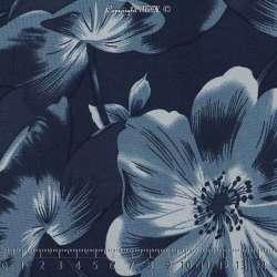 Jersey Cristal BAGATELLE Imprimé Thème Grande Hibiscus Ton Bleu Fond Marine. 15 x 15 Cm Photo
