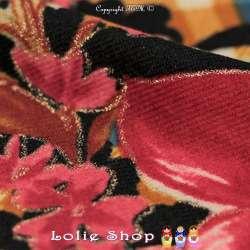 Jersey Imprimé Lourd Modèle CELINE Ton Rose Fond Bleu Marine