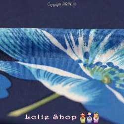Jersey Cristal BAGATELLE Imprimé Thème Grande Hibiscus Ton Bleu Fond Marine