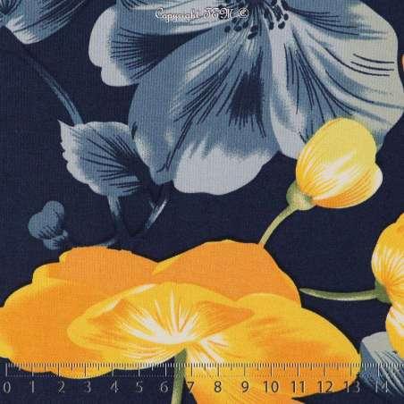 Jersey Cristal BAGATELLE Imprimé Thème Grande Hibiscus Ton Jaune Fond Marine. 15 x 15 Cm Photo.