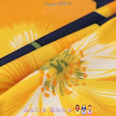 Jersey Cristal BAGATELLE Imprimé Thème Grande Hibiscus Ton Jaune Fond Marine