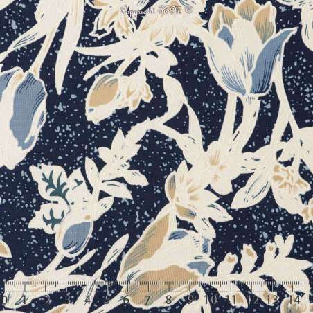Jersey Cristal ANGELA Gomme Imprimé Tulipes Ton Bleu Fond Marine