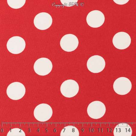 Jersey Cristal BELLAGIO Imprimé Thème Pois 2cm Fond Rouge Garance. 15 x 15 Cm Photo.