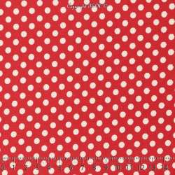 Jersey Cristal DOTSY Gomme Imprimé Pois (5mm) Fond Rouge Garance. 15 x 15  Cm Photo.