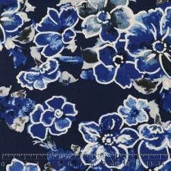 Jersey Cristal BETTY Gomme Imprimé Magnolia Ton Bleu Fond Marine. 15 x 15 Cm Photo.