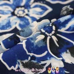 Jersey Cristal BETTY Gomme Imprimé Magnolia Ton Bleu Fond Marine