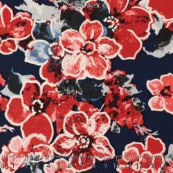 Jersey Cristal BETTY Gomme Imprimé Magnolia Ton Rouge Fond Marine. 15 x 15 Cm Photo.