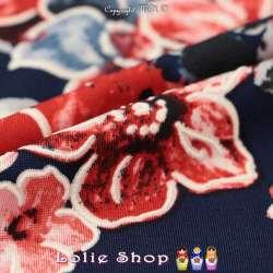 Jersey Cristal BETTY Gomme Imprimé Magnolia Ton Rouge Fond Marine