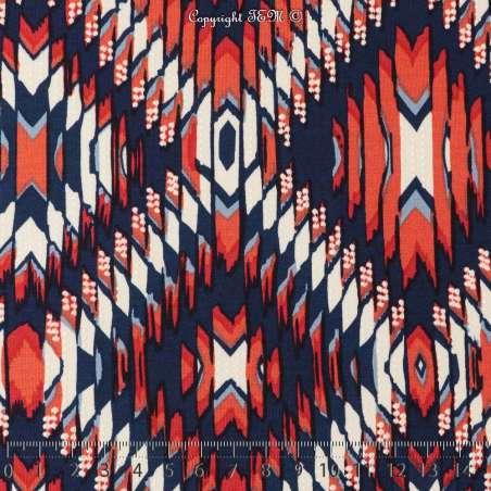 Jersey Cristal INCAS Gomme Imprimé Glace Ton Rouge Garance Fond Marine. 15 x 15 Cm Photo.