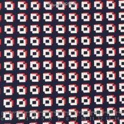 Jersey Cristal FLORIA Gomme Imprimé Cube Rouge Garance Fond Marine. 15 x 15 Cm Photo.