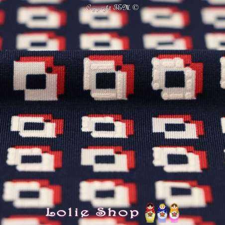 Jersey Cristal FLORIA Gomme Imprimé Cube Rouge Garance Fond Marine