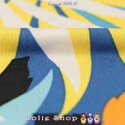 Jersey Cristal MARIGOT Imprimé Thème Jungle Ton Azur/Mimosa Fond Bleu Denim