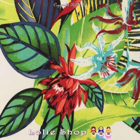 Jersey Cristal MACEO Imprimé Thème Exotique Ton Vert Fond Blanc