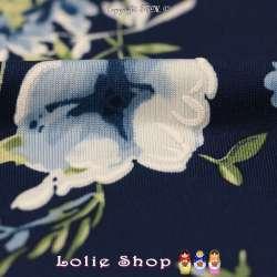 Jersey Cristal LORÈNE Gomme Imprimé Thème Romantique Ton Bleu Céruléen