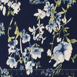Jersey Cristal LORÈNE Gomme Imprimé Thème Romantique Ton Bleu Céruléen. 15 x 15 Cm Photo.