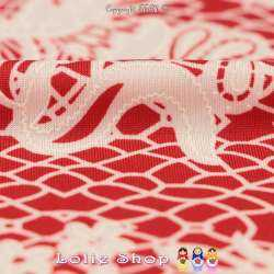 Jersey Cristal MANITAS Gomme Imprimé Effet Dentelle Fond Rouge Garance