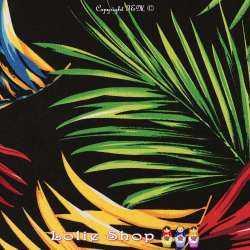 Jersey Cristal PALM'S Imprimé Tropical Fond Noir