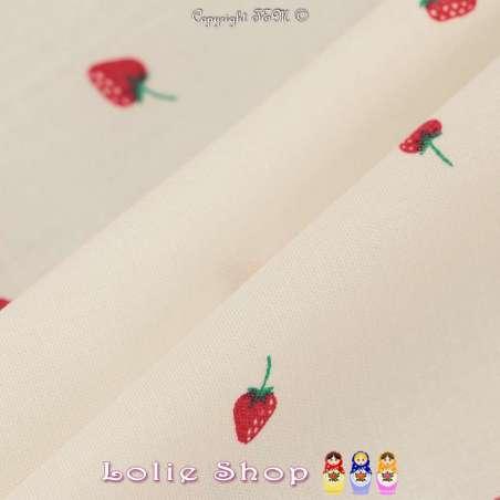 Popeline Coton Imprimé Motif Fraises Sur Fond Blanc