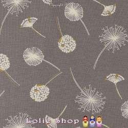 Jersey Coton Imprimé Motif Pissenlit Fond Gris