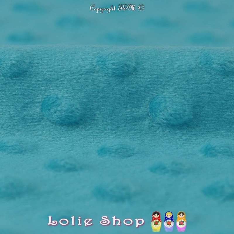 Tissu Velours Minky Doux À Pois Turquoise